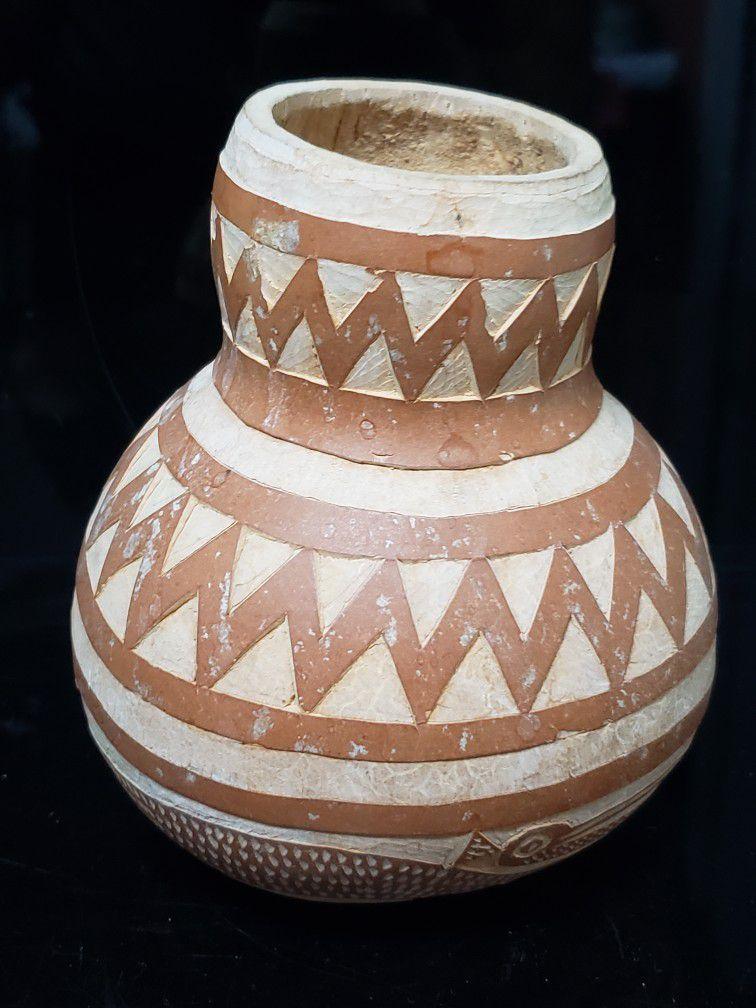 Vintage Carved Gourd Pelican Design