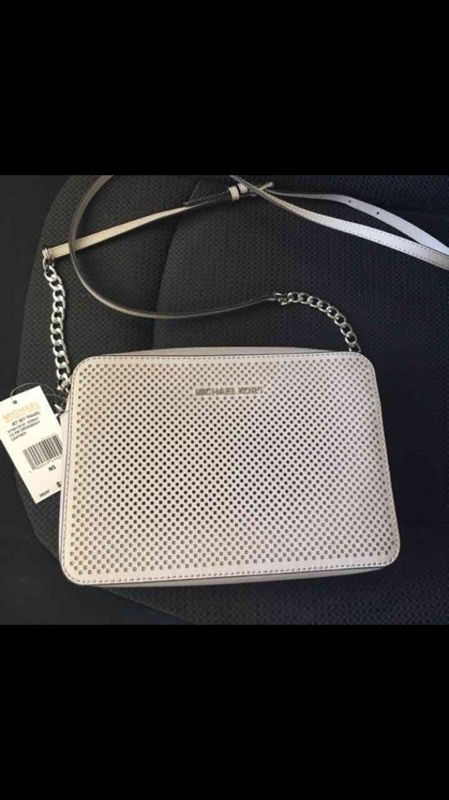 f966ffe92d12 MICHAEL KORS JET SET TRAVEL LARGE EAST WEST PERFORATED LEATHER CROSSBODY