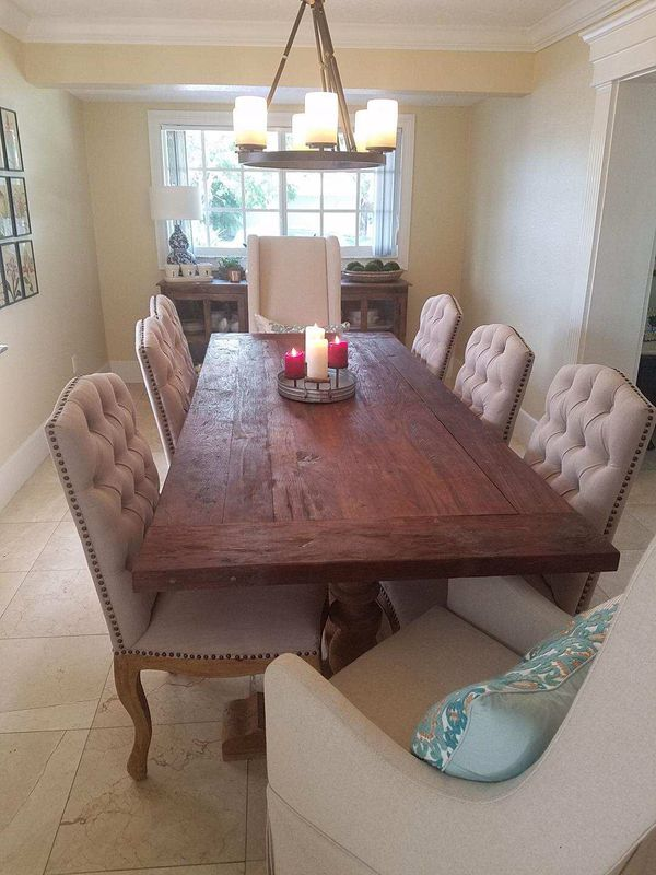 Solid Teak Wood Reclaimed Dining Table With Chairs And Wing - Solid teak dining table for sale