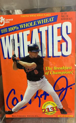 1995 Cal Ripken Jr Baltimore Orioles 2131 Games Wheaties Sealed Cereal Box Mint Condition (In protective box) for Sale in Westminster, MD