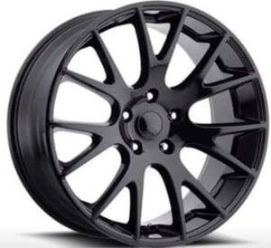 Photo 22 DODGE HELLCAT Rims Package New Replica Wheels & Tires ANY FINISH • Machine Black • Gloss Black • Matte Black