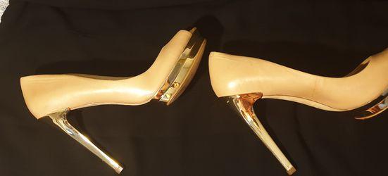 BCBG Max Azria Nude Gold Platform Heels Thumbnail