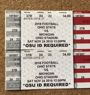 2 Bigten football tickets, OSU vs Michigan for Sale in Columbus, OH