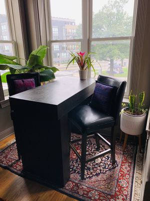 West Elm High Top Table + Leather Bar Chairs for Sale in Washington, DC