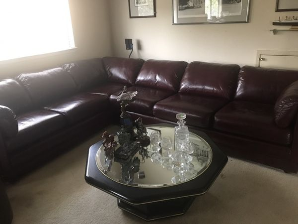 Leather factory red wine Sectional sofa for Sale in San Jose, CA - OfferUp