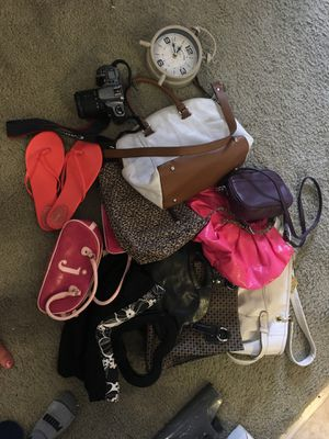 Huge lot of Purses, a used Canon camera for parts size 9 flip-flops, And vintage style alarm clock for Sale in Alexandria, VA