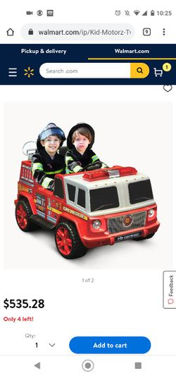 BRAND NEW Kid Motorz Fire Engine 2-Seater 12-Volt Ride-On in Red Thumbnail