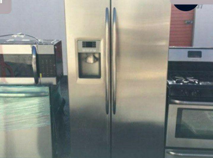 Upscale Stainless Finish Side/Side Fridge, Dishwasher, Range, Microwave Entire Kitchen Set