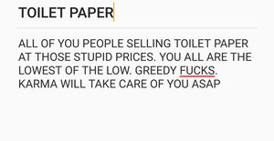 Photo ALL THE PEOPLE HIKING UP THE TOILET PAPER PRICES ARE COMPLETE GARBAGE