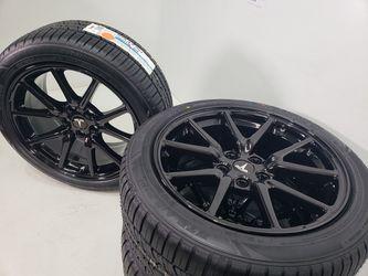 "18"" Tesla Model 3 Gloss black new wheels and tires    Thumbnail"