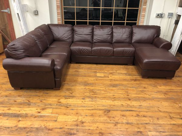 Divani Chateau D Ax Top Grain Italian Leather Sectional Sofa W Chaise For Sale In