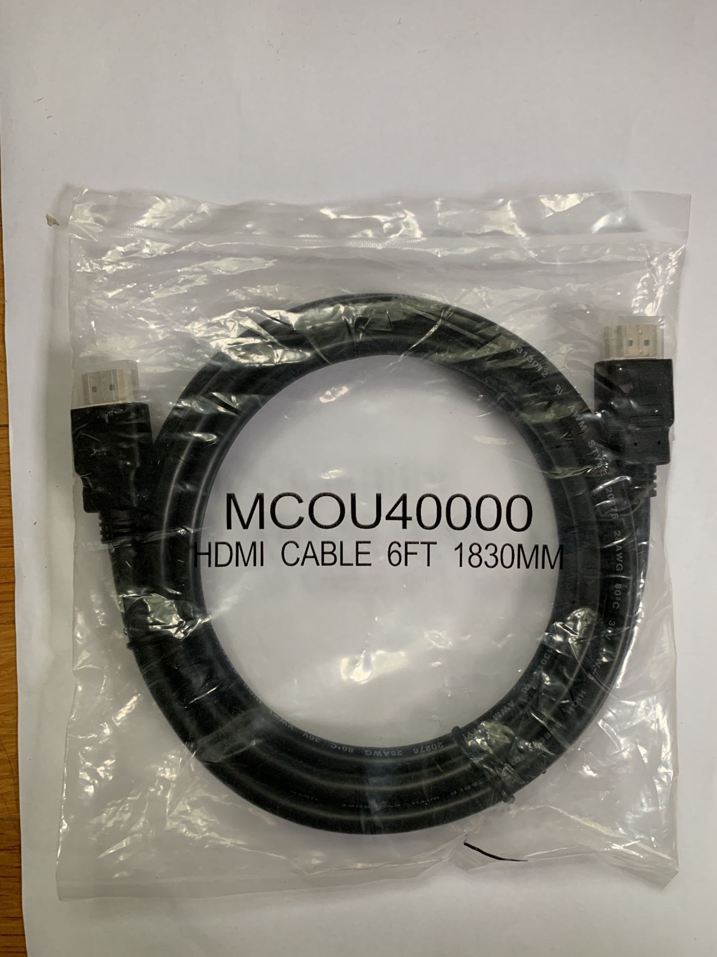 New MCOU40000 high speed HDMI cable with Ethernet in original sealed packaging