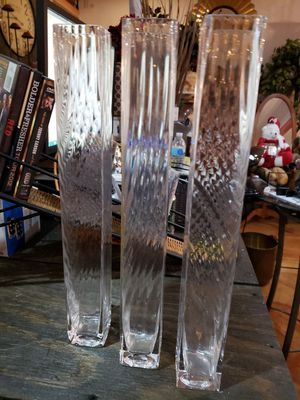 Three 16x2x2 glass vases. for Sale in St. Louis, MO