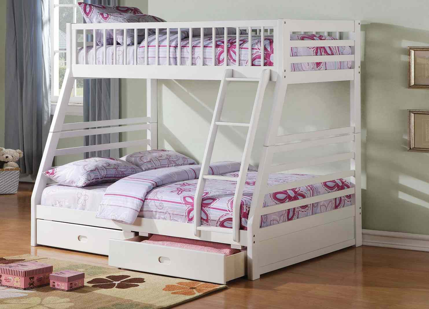 Twin/Full Bunk Bed AND Drawers - 37040 - White V1D 4