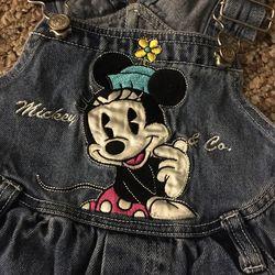 Girls Size 4T Mickey Mouse Blue Jean Romper Thumbnail
