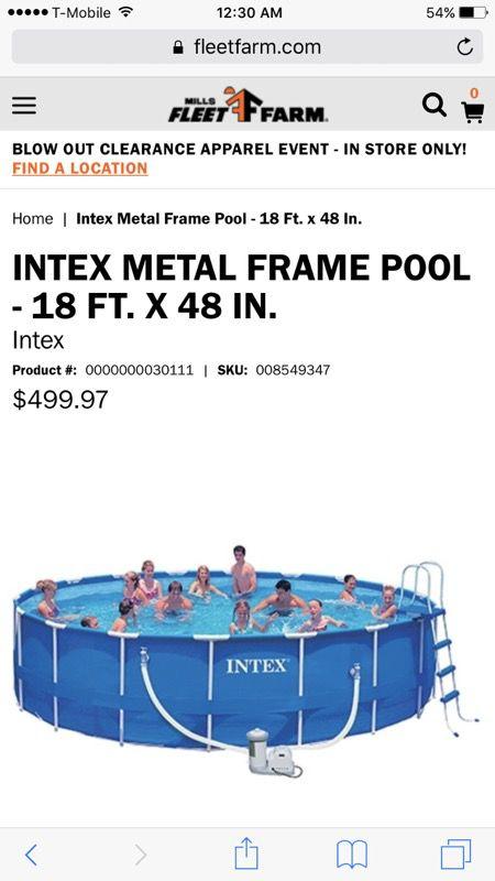 INTEX 18 x 48 Metal Frame SWIMMING POOL for Sale in Columbus, OH ...
