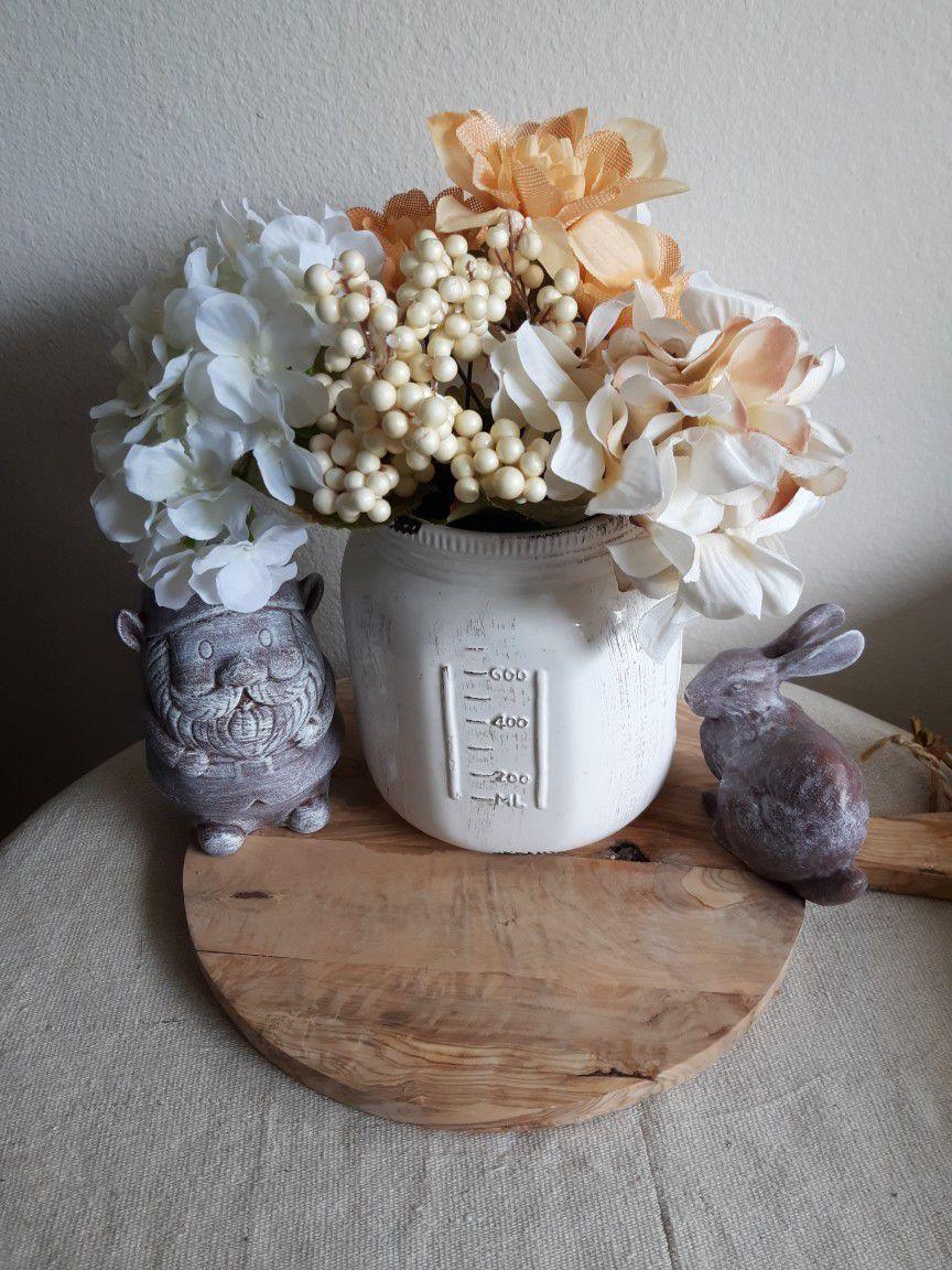 Giant White Ceramic Mason Jar