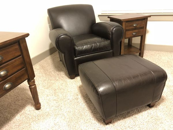pottery barn manhattan leather chair ottoman for sale in mansfield