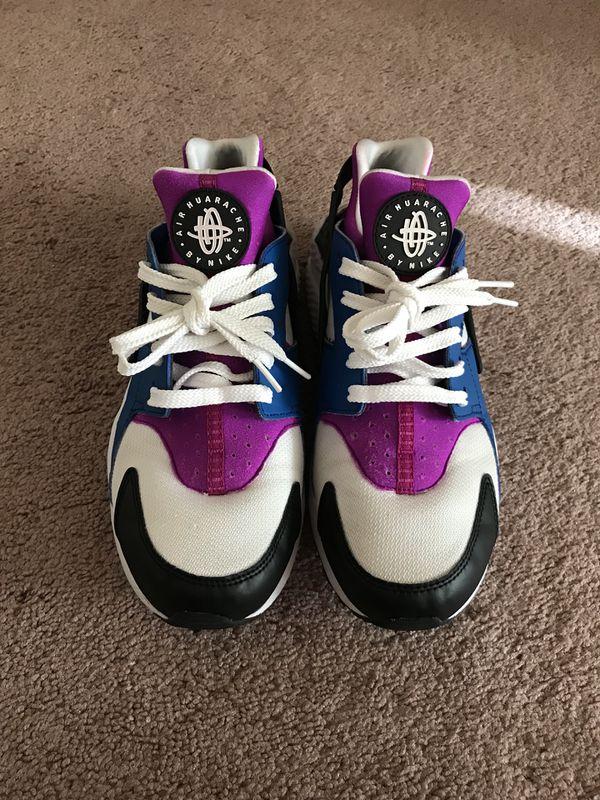 more photos 2697c 04f02 Nike Air Huarache Blue Jay Hyper Violet Black White Size 10.5