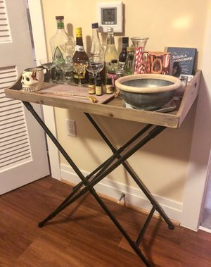 West Elm wooden folding tray table, used as bar cart for Sale in Washington, DC