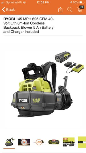 Photo RYOBI 145 MPH 625 CFM 40-Volt Lithium-Ion Cordless Backpack Blower 5 Ah Battery and Charger Included