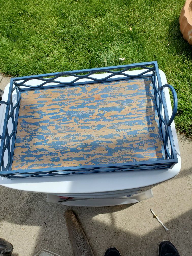 Rustic Farmhouse Tray  Metal And Wood