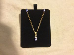 18 yellow gold natural tanzanite and diamond set for Sale in Orlando, FL