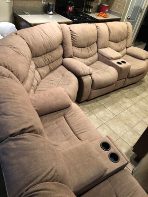 Tan Tuscan 5 seater Sectional (Reclinable) by Turbo - $650 (Ellenwood) for Sale in Ellenwood, GA