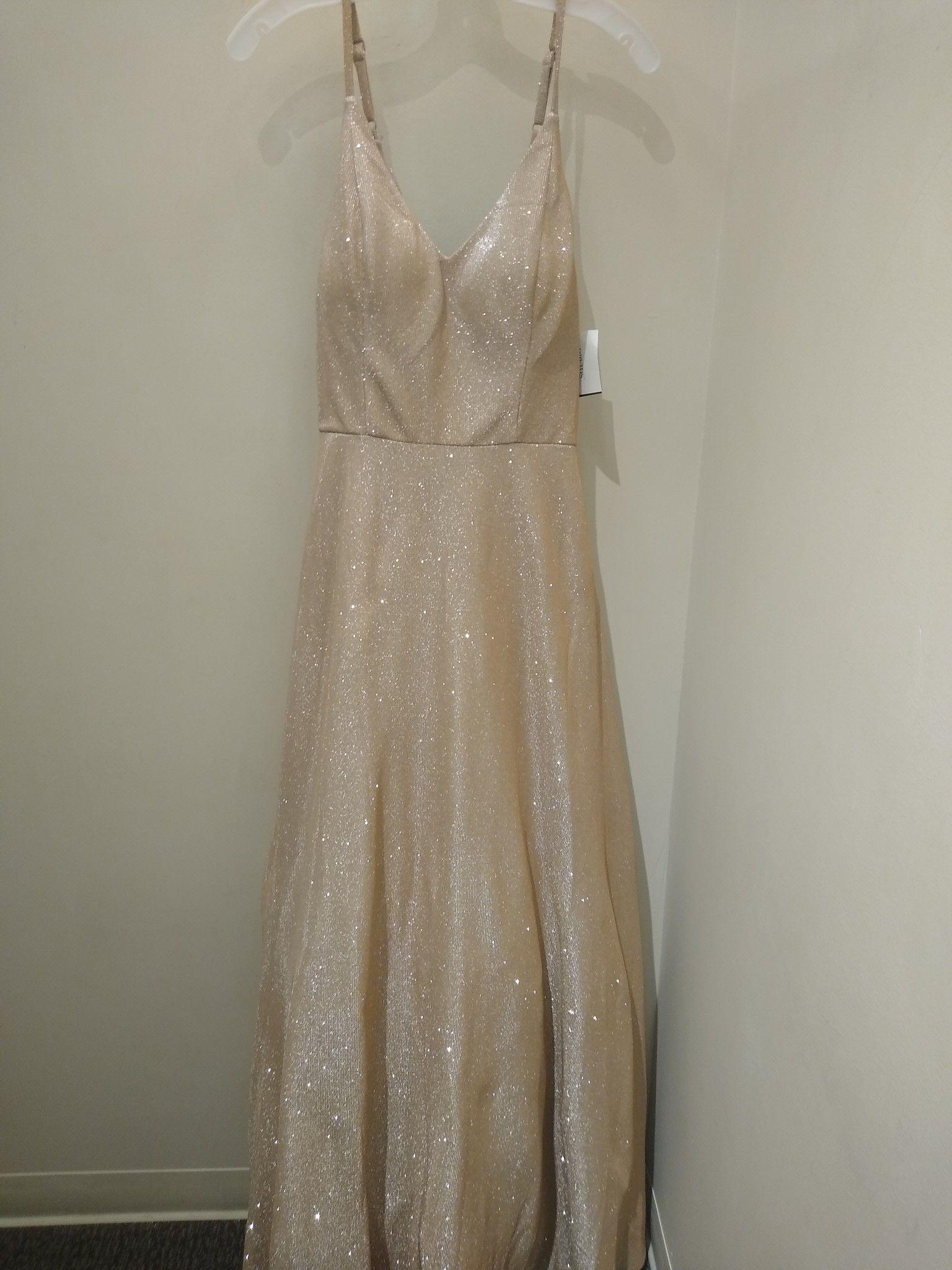 Champagne Spaghetti Strap Formal Dress