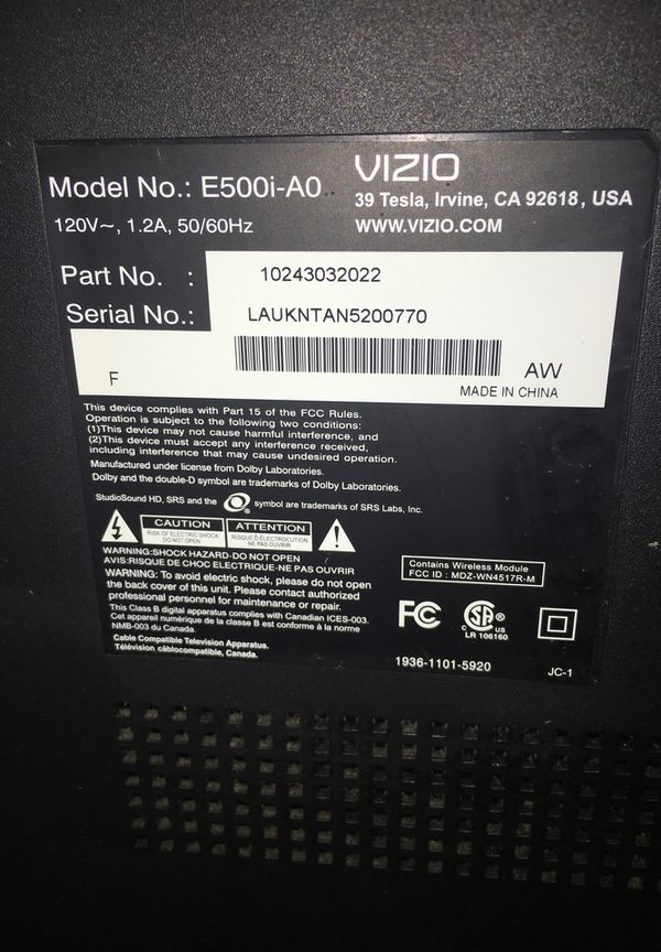 Smart Tv Vizio Tv 50 With Tv Stand Model Number 4500 A0 For Sale In