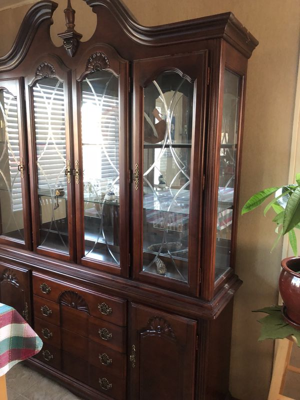 dining room armoire brown wood and glass for Sale in San Leandro, CA -  OfferUp