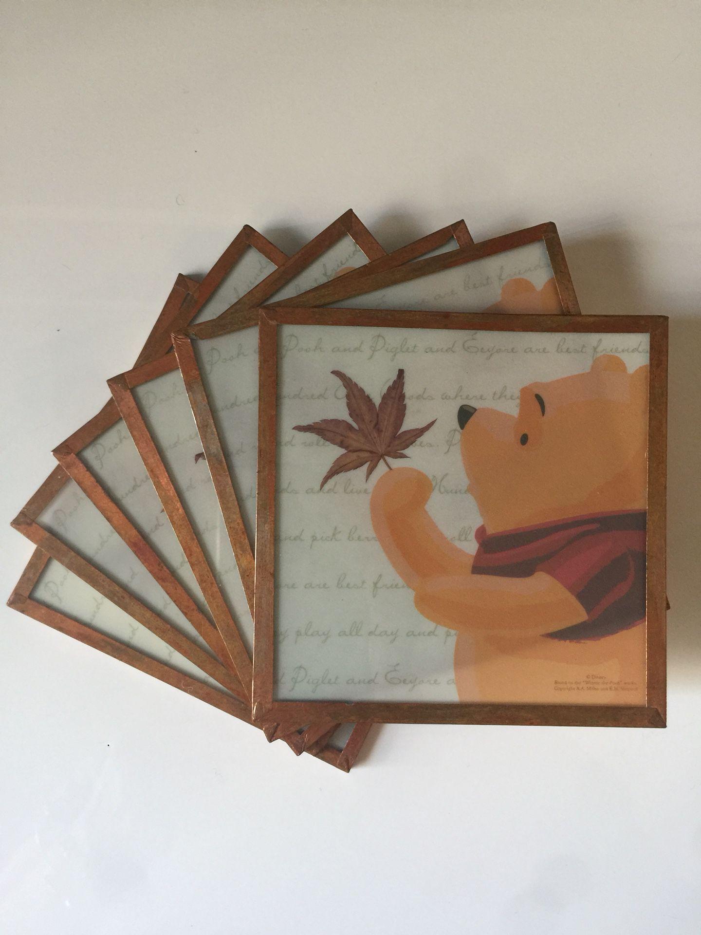 Fall / Autumn Decor - Framed Glass Winnie the Pooh Coasters/ Tile Set