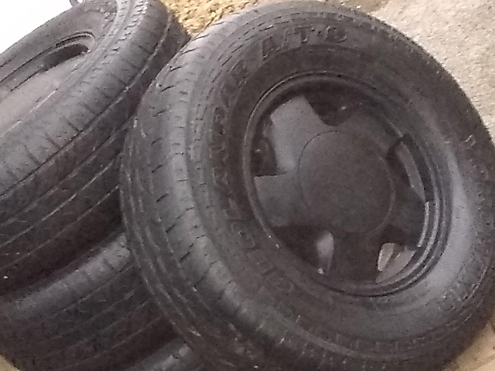 "Tires/wheels 4-GM 6-lug wheels with 265-70-16"" yokahama tires"