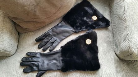 100% Real Vintage Leather & Fur Gloves, Fully Lined, EXCELLENT condition from Czechoslovakia! Thumbnail