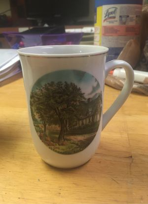 Photo Vintage China Tea Cup Autumn Currier & Ives