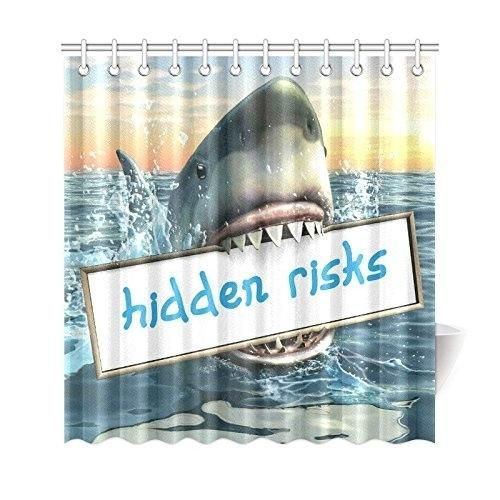 Sea Ocean Shower Curtain, Funny Animal Shark Jaw Polyester Fabric Shower Curtain Bathroom Sets 66x72 Inches