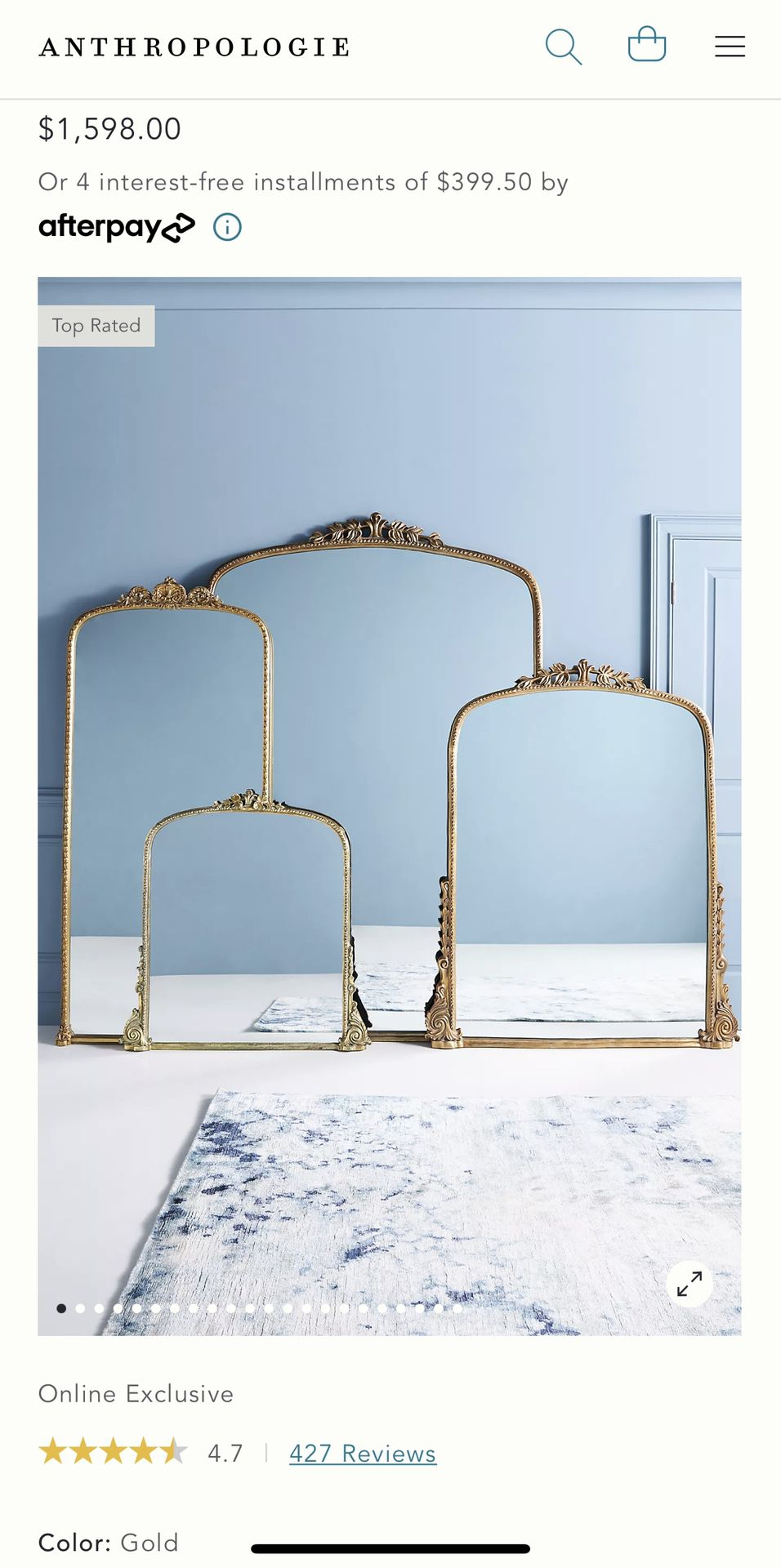 Anthropology Gleaming Primrose Mirror Gold: biggest size - 7'  New - we ordered 2 colors to see which one will match our decor better and waited for a