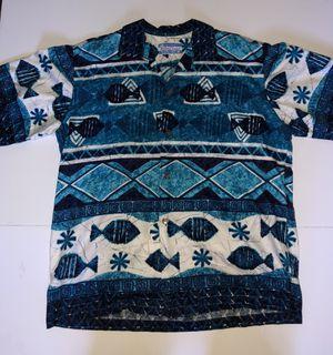 Waltah Clarke's Vintage 60s Tiki Blue Fish Print Hawaiian Shirt for Sale in Fresno, CA