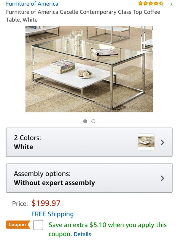 Coffee Table Large Area Rug Household In Kansas City Mo Offerup White Com Furniture Of America Gacelle Contemporary Glass Top