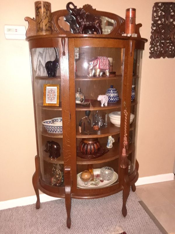 Open in the AppContinue to the mobile website - ANTIQUE CHINA CABINET. BEAUTUFUL WOOD CARVINGS, ROUNDED GLASS