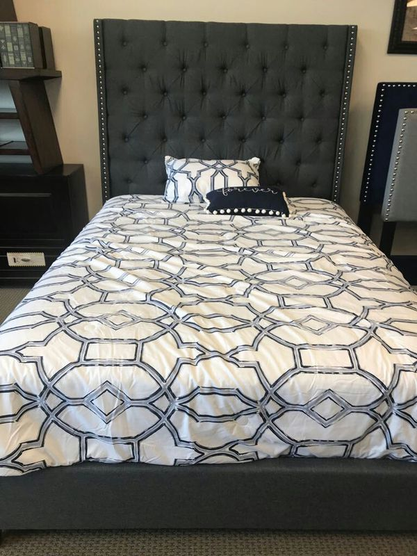 Brand New blue grey queen size bed frame with pillow top mattress ...