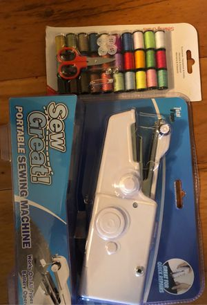 Photo Brand New Never Opened Portable Sewing Machine With 30 Color Hand Sew Kit