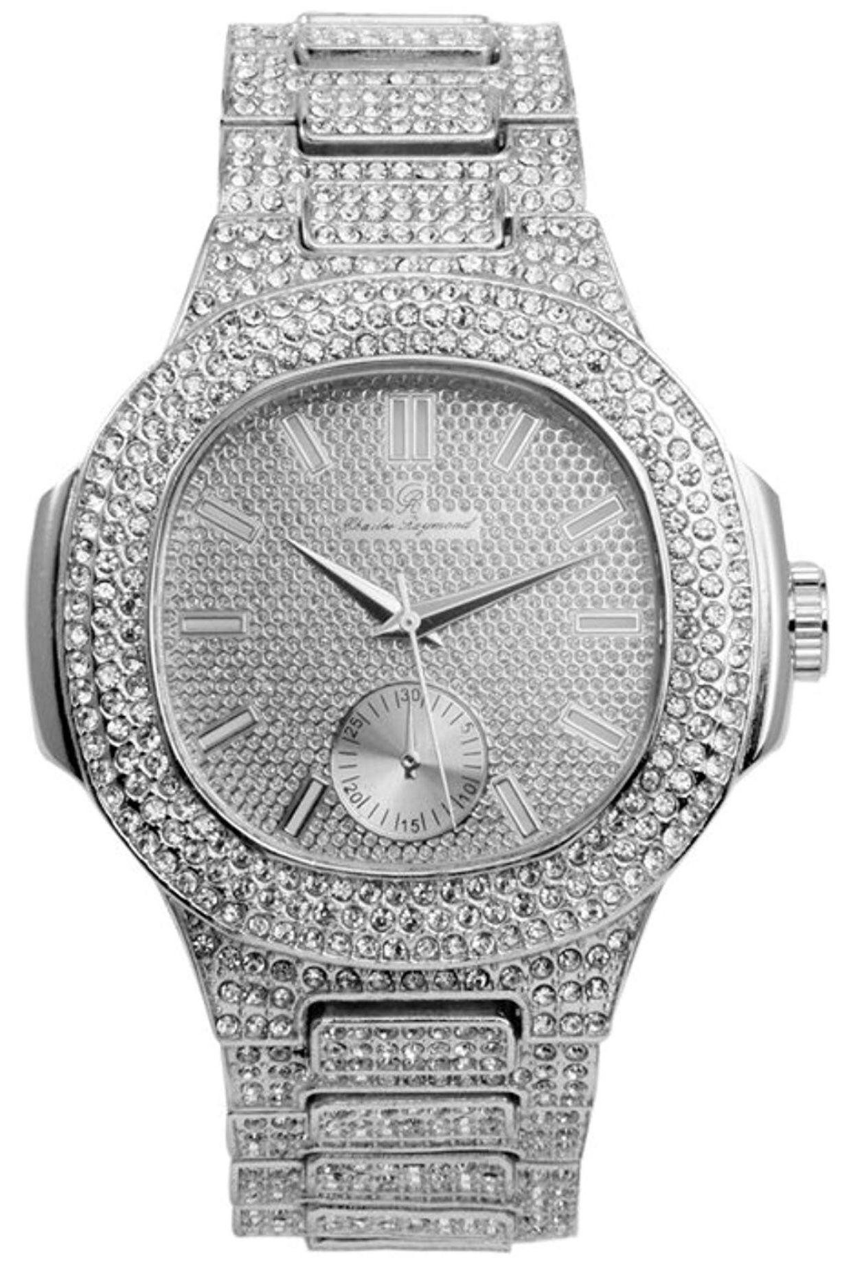 Bling-ed Out Oblong Case Metal Mens Watch w/Matching Bracelet Gift Set - 8475B - Silver