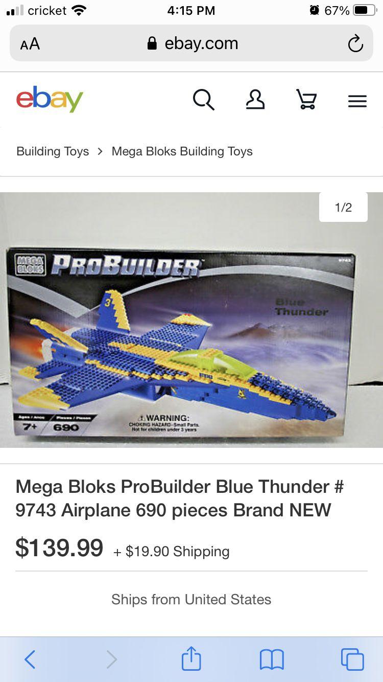 Mega block pro builder blue thunder US Navy F-1 new in box !!!!!