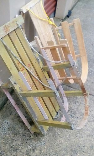 2 vintage wooden sleds 50 for botj for Sale in OH, US