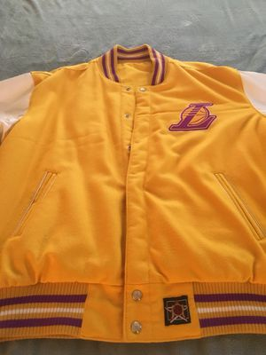 Los Angeles Lakers Vintage (1986) JH Designs Reversible Leather and Wool Jacket for Sale in Alexandria, VA