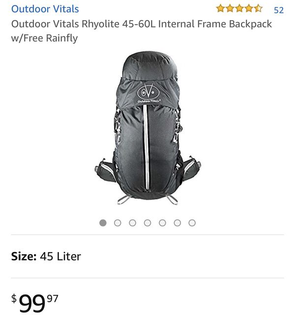 Brand new Outdoor Vitals Rhyolite 45L Internal Frame Backpack w Free ... d0c9cca030fe7