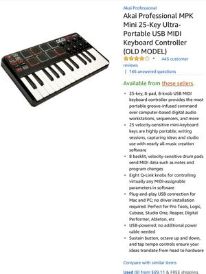 Akai Professional MPK Mini 25-Key Ultra-Portable USB MIDI Keyboard  Controller for Sale in Sarasota, FL - OfferUp