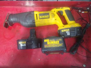18 volt dewalt sawzall 2. batterys and charger for Sale in Edwardsville, IL