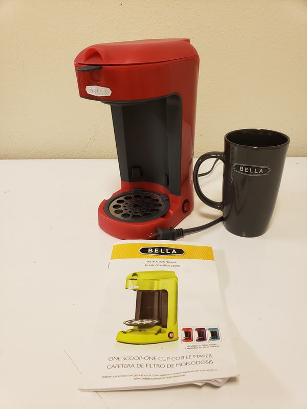 Bella One Scoop One Cup Coffee Maker With Instructions And Mug For